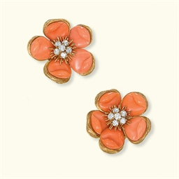 A PAIR OF CORAL AND DIAMOND EA