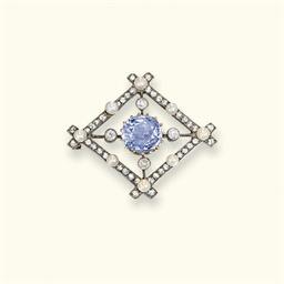 A RUSSIAN SAPPHIRE, DIAMOND AN