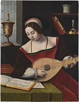 A lady playing a lute in an interior