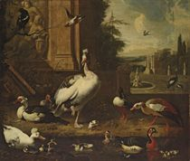 Geese, ducks, a magpie and other birds at a pond, an architectural capriccio landscape beyond