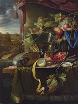 A conch shell, a cut and partly-peeled lemon on a silver platter, a broken pomegranate, shrimps, oysters, a wine-filled roemer, fruit and other objects on a partly-draped wooden table before a draped window casement, an extensive landscape beyond