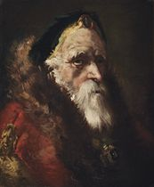 Head study of a bearded man, in a green hat with a brooch and a fur-trimmed red mantle with a jewelled buckle