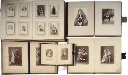 Five metal mounted photo album