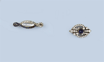 TWO ANTIQUE GEM SET AND DIAMON