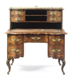 A GERMAN ORMOLU-MOUNTED WALNUT
