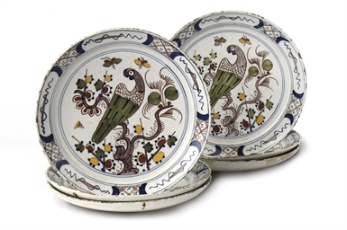 A set of six Dutch Delft polyc