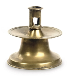A DUTCH BRASS CANDLE STICK 'KR