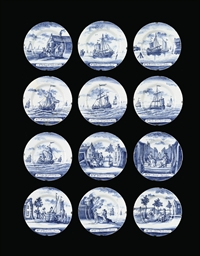 A set of twelve Dutch Delft bl