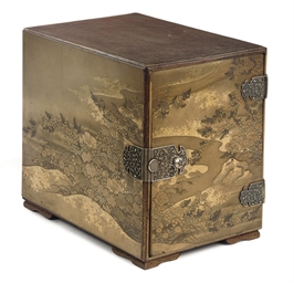 A Japanese lacquer small chest