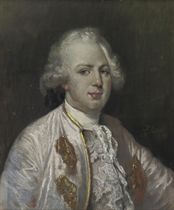 A portrait of a gentleman, half-length, possibly King Louis XVI, wearing a jacket decorated with white lace