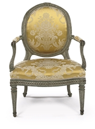 A LOUIS XVI WHITE AND GREY-PAI