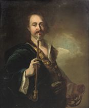A portrait of a man, standing half-length, possibly the artist himself, wearing a fur-trimmed blue coat and holding a sabel and pipe