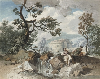 An Arcadian landscape with she