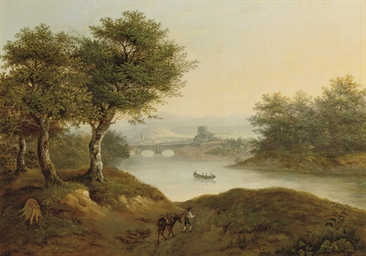 A river landscape with a trave