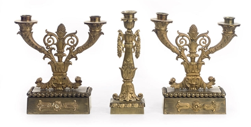 A PAIR OF GERMAN ORMOLU TWO-LI