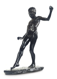 A BRONZE FIGURE OF A NAKED BOY