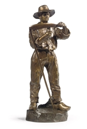 A BRONZE FIGURE OF A MOWER ENT