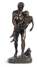 A BRONZE GROUP OF A MAN CARRYI
