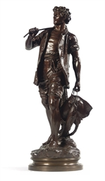 A BRONZE FIGURE OF A FISHER MA