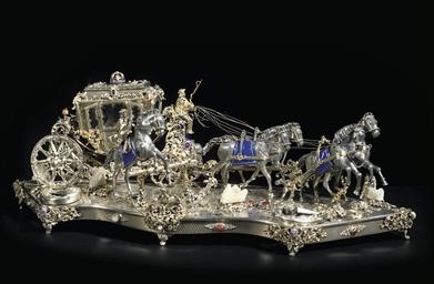 A parcel-gilt silver, enamel a