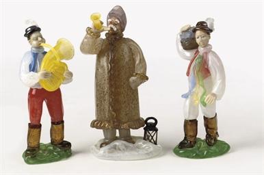 A set of three Bohemian glass