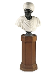 A BLACK AND WHITE MARBLE BUST