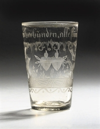 A German engraved glass marria