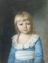 Portrait of Duke Paul von Württemberg, half-length, circa three years old (?-1860), wearing a blue costume