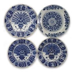 Three Dutch Delft blue and whi