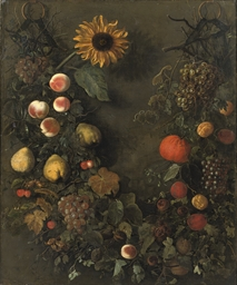 A fruit garland with grapes, p