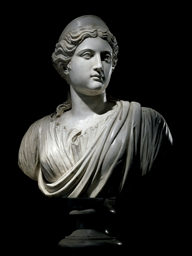 A CARVED MARBLE BUST OF DIANA