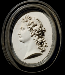 A CARVED OVAL MARBLE PORTRAIT