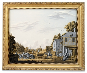 A DUTCH VERRE EGLOMISE PICTURE