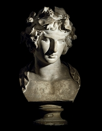 A PLASTER BUST OF BACCHUS