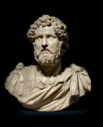 A CARVED MARBLE BUST OF ANTONI