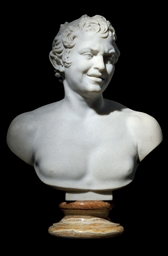 A MARBLE BUST OF A FAUN