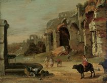 An Italianate landscape with a woman washing clothes in a fountain, herdsmen and their cattle beside ruins