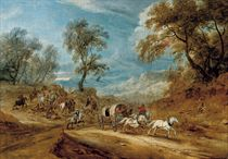 A wooded landscape with highwaymen ambushing a carriage on a track