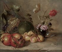 Pomegranates, grapes, peaches and a melon, with peonies in a glass vase on a stone ledge, with a butterfly and a snail