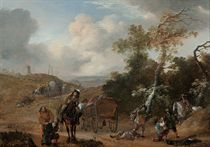 A wooded landscape with travellers ambushed on a country track