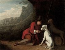 A wooded landscape with a traveller at rest with his dogs