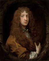 Portrait of Lord David Hay (1656-1726) of Belton House, nr. Dunbar, Scotland, half-length, in a brown robe with a fur collar, in a sculpted cartouche