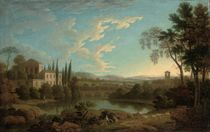 An Italianate river landscape with a shepherd in the foreground, a villa beyond