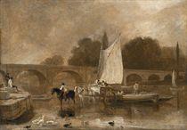 A view of Richmond Bridge, Richmond-upon-Thames, with a horse-drawn cart unloading goods onto a sailboat, en brunaille