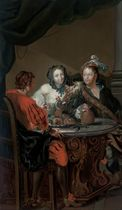 Elegant company at a table, in an interior