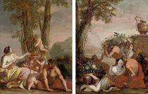 A bacchanal; and An amorous couple with putti disporting