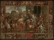 The Triumphal Entry of Alexander into Babylon, in an architectural relief decorated with putti and the spoils of war