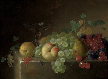 A glass tazza, a pear, peaches
