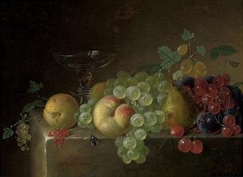 A glass tazza, a pear, peaches