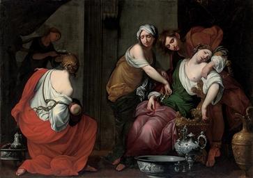 Rachel giving birth to Joseph